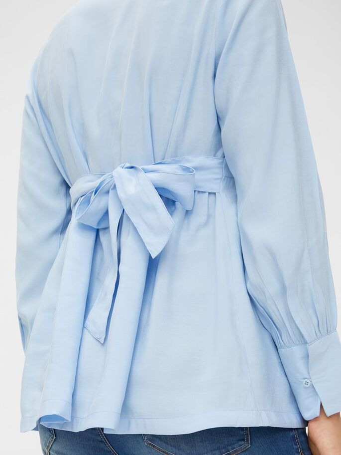 TIE-BELTED VISCOSE MATERNITY SHIRT, Serenity, large