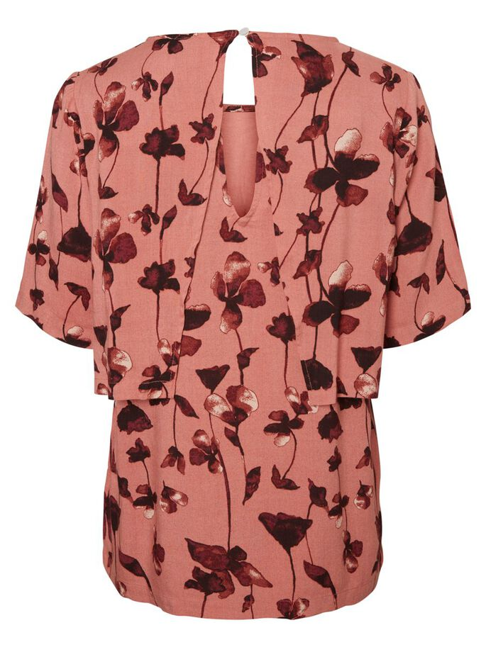 FLOWERED NURSING TOP, SHORT SLEEVED, Old Rose, large