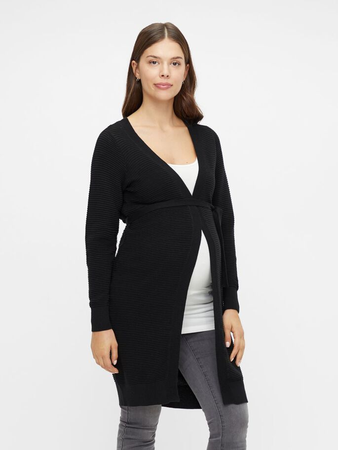 LONG KNITTED MATERNITY CARDIGAN, Black, large