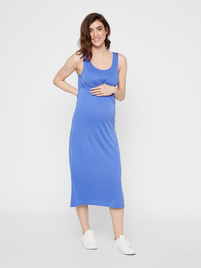 JERSEY BODYCON MATERNITY MIDI DRESS, Amparo Blue, large