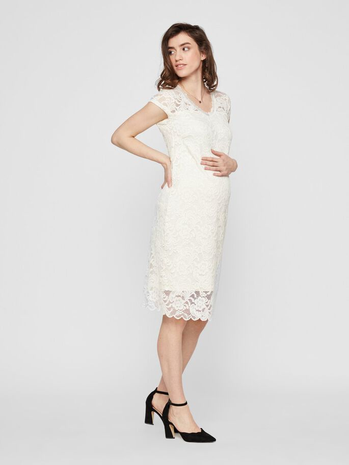 LACE MATERNITY MIDI DRESS, Snow White, large