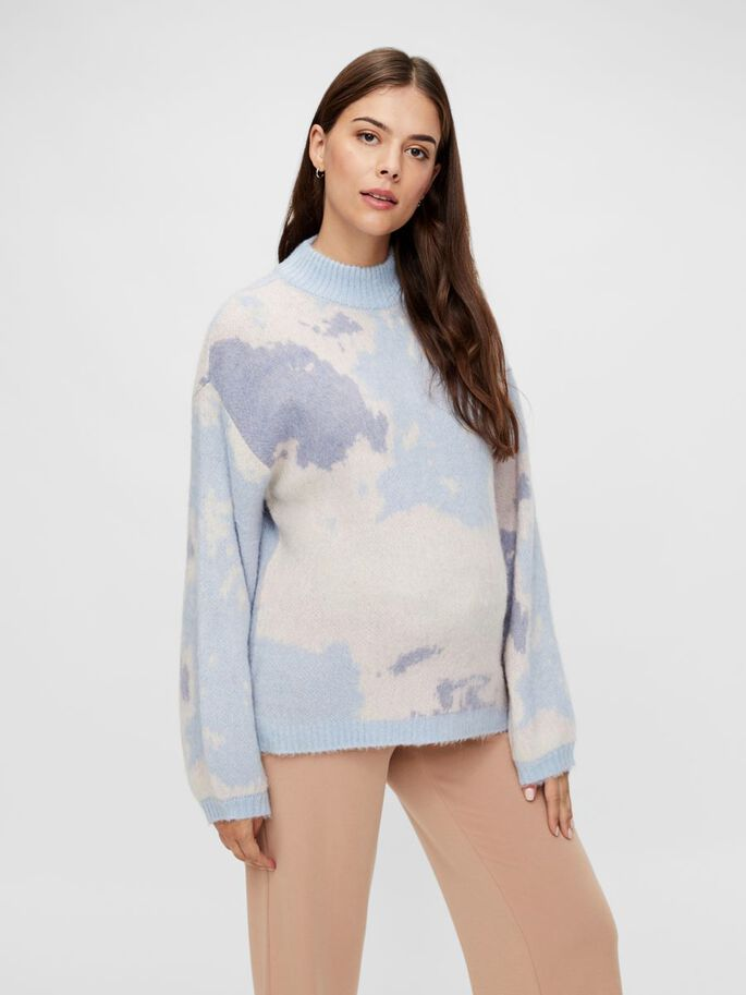 PRINTED HIGH NECK MATERNITY PULLOVER, Kentucky Blue, large
