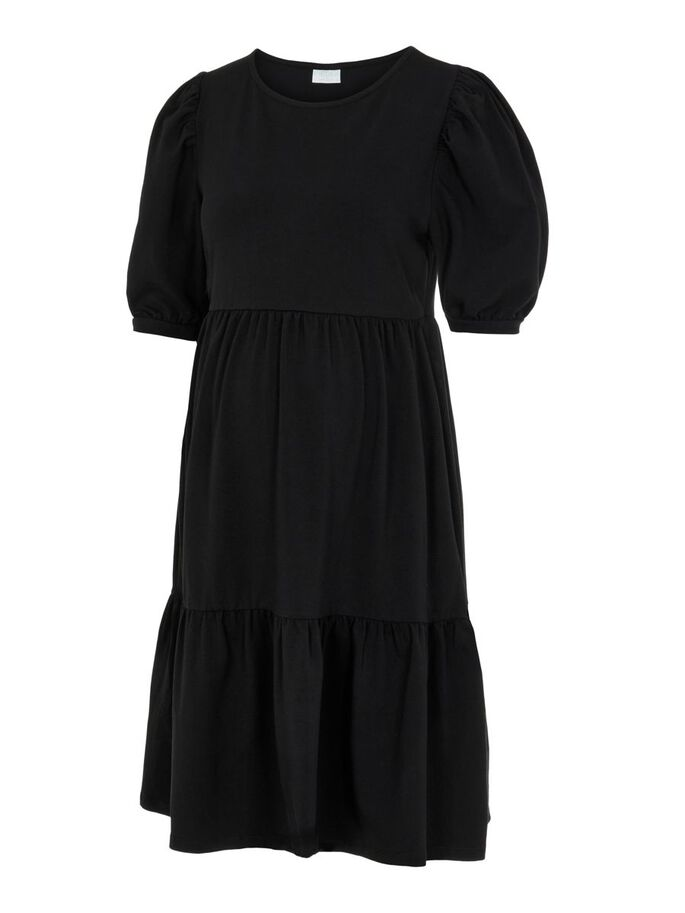 PCMTERESE PUFF SLEEVED MATERNITY DRESS, Black, large