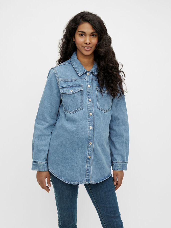 PCMGRAY VESTE GROSSESSE, Light Blue Denim, large