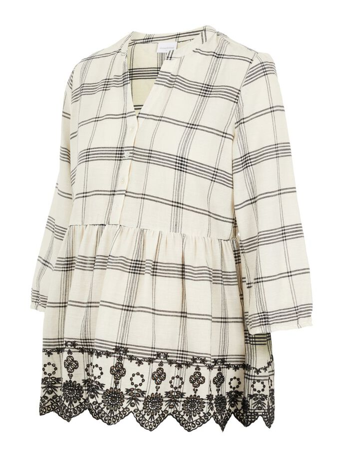 CHECKED EMBROIDERY NURSING TOP, Parchment, large