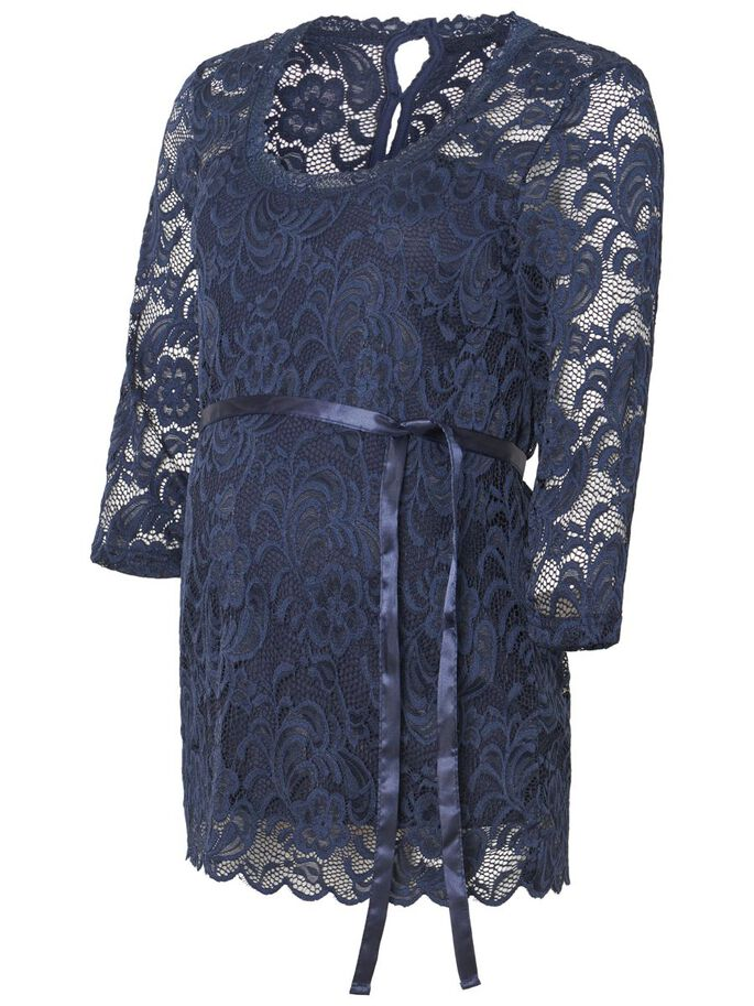 LACE 3/4 SLEEVED MATERNITY TOP, Navy Blazer, large