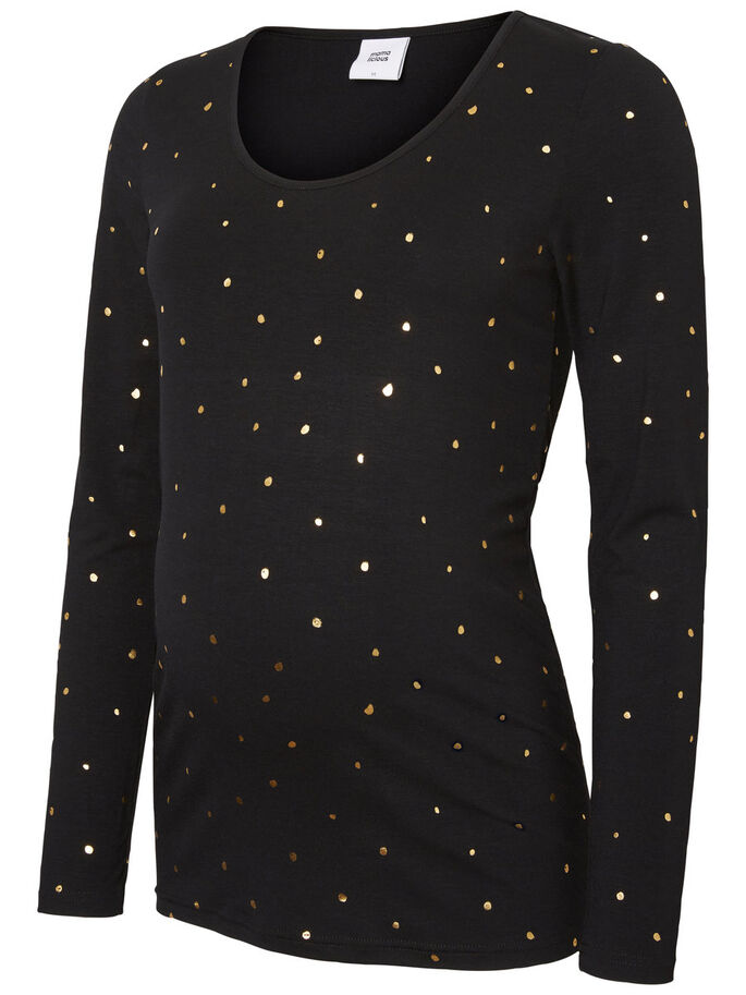 DOTTED LONG SLEEVED MATERNITY TOP, Black, large