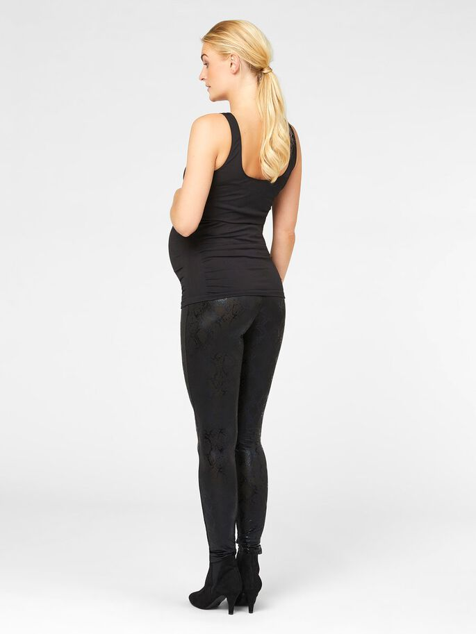 SHINY SNAKE MATERNITY LEGGINGS, Black, large