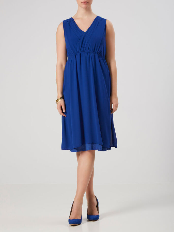 GEWEBTES STILL-KLEID, Mazarine Blue, large