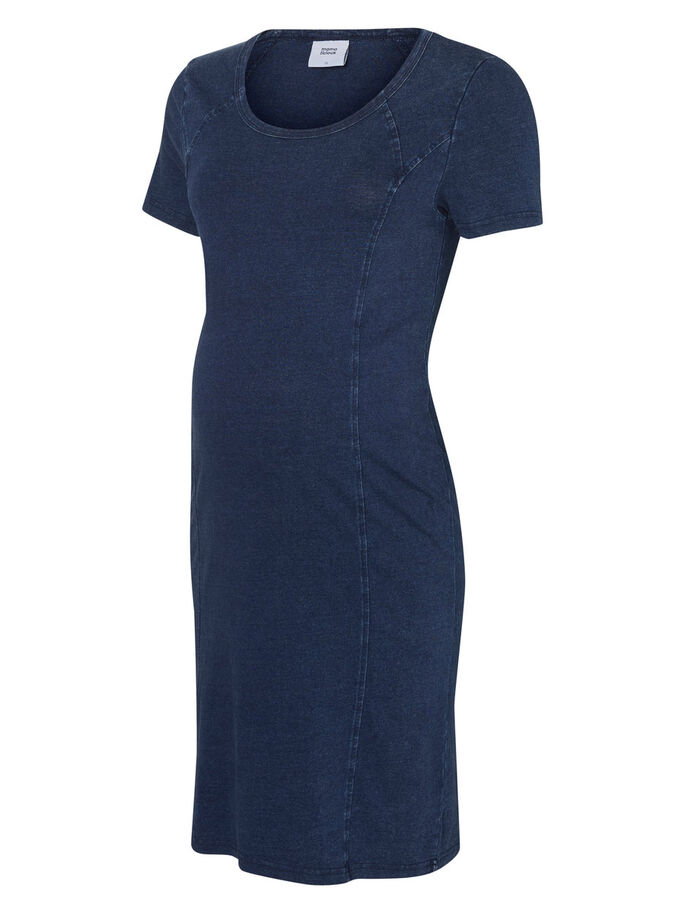 JERSEY MATERNITY DRESS, Dark Blue Denim, large