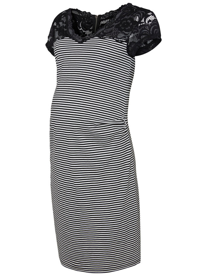 STRIPED MATERNITY DRESS, Black, large