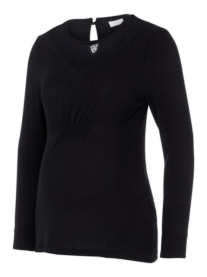 LONG SLEEVED KNITTED MATERNITY TOP, Black, large