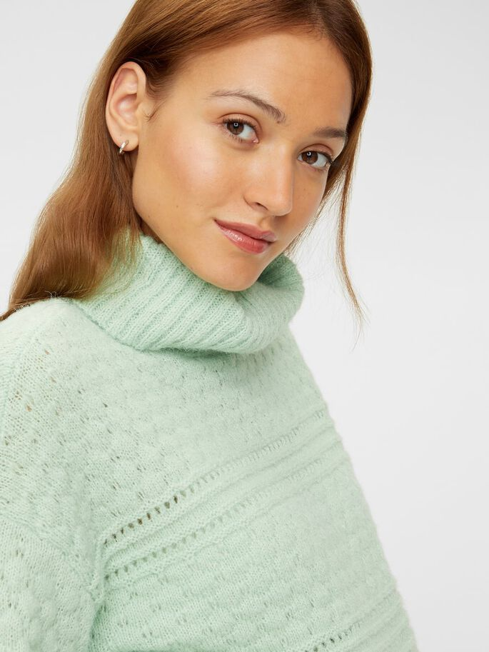 KNITTED HIGH NECK MATERNITY PULLOVER, Pastel Green, large