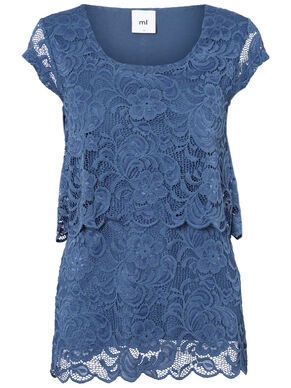 LACE NURSING TOP, SHORT SLEEVED