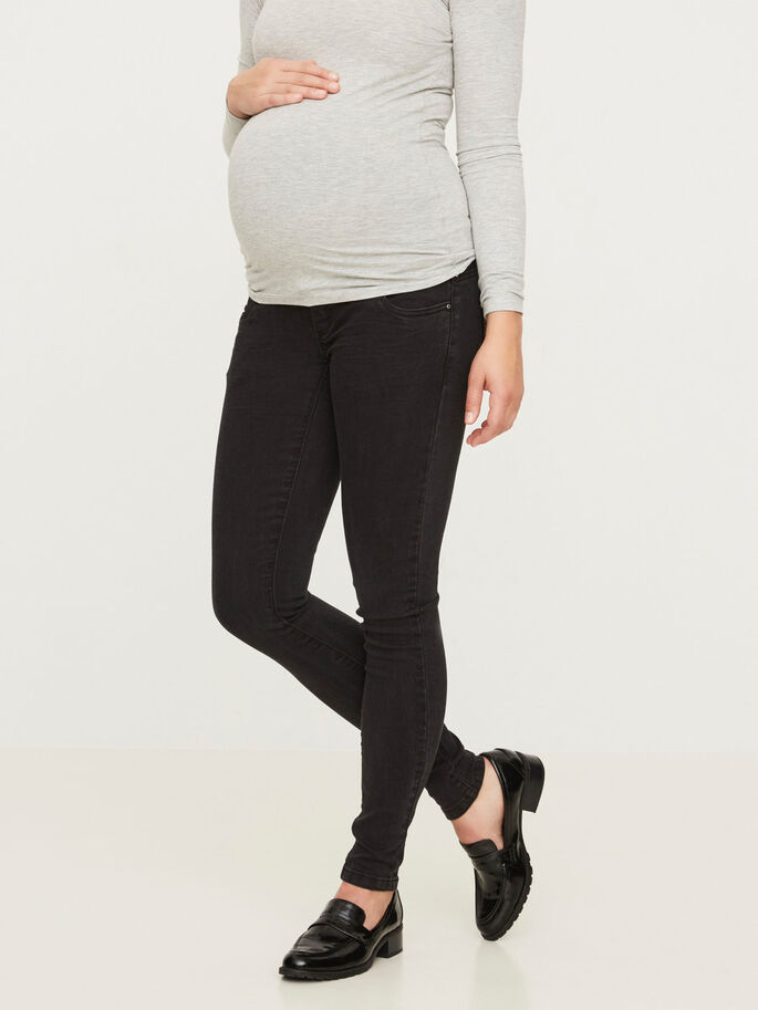 SLIM MATERNITY JEANS, Black Denim, large