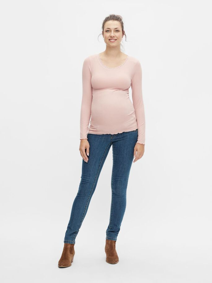 PCMCOCO LACE MATERNITY TOP, Misty Rose, large