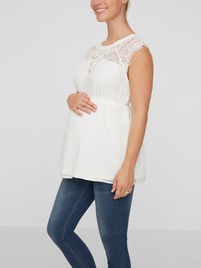 LACE DETAILED MATERNITY TOP, SHORT SLEEVED