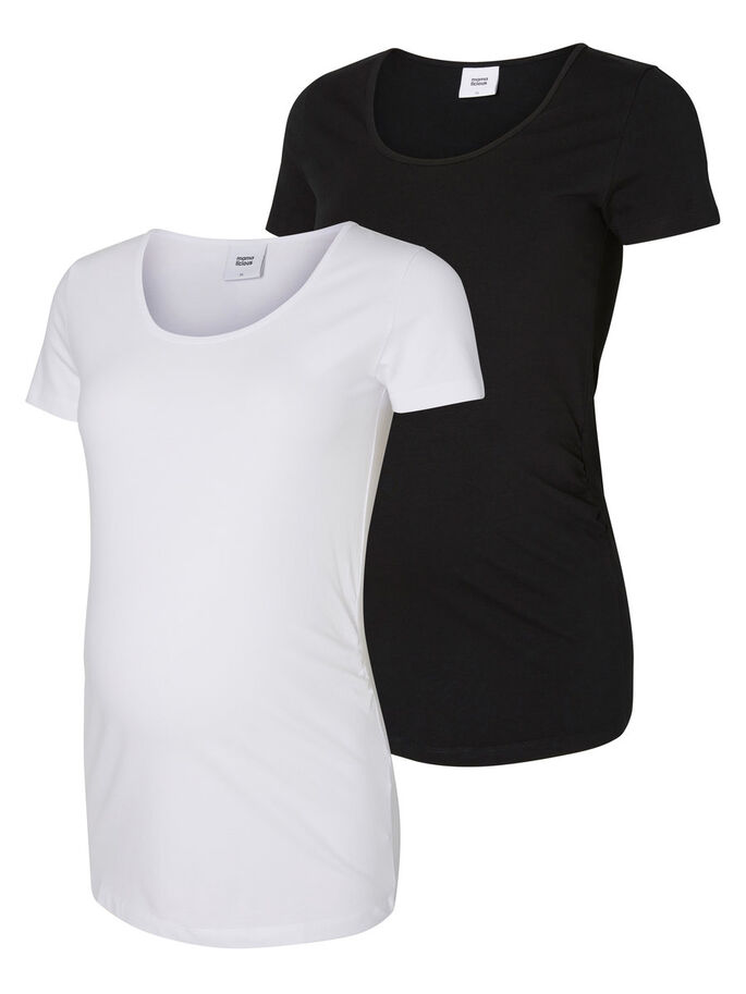 2-PACK MATERNITY TOP, SHORT SLEEVED, Black, large