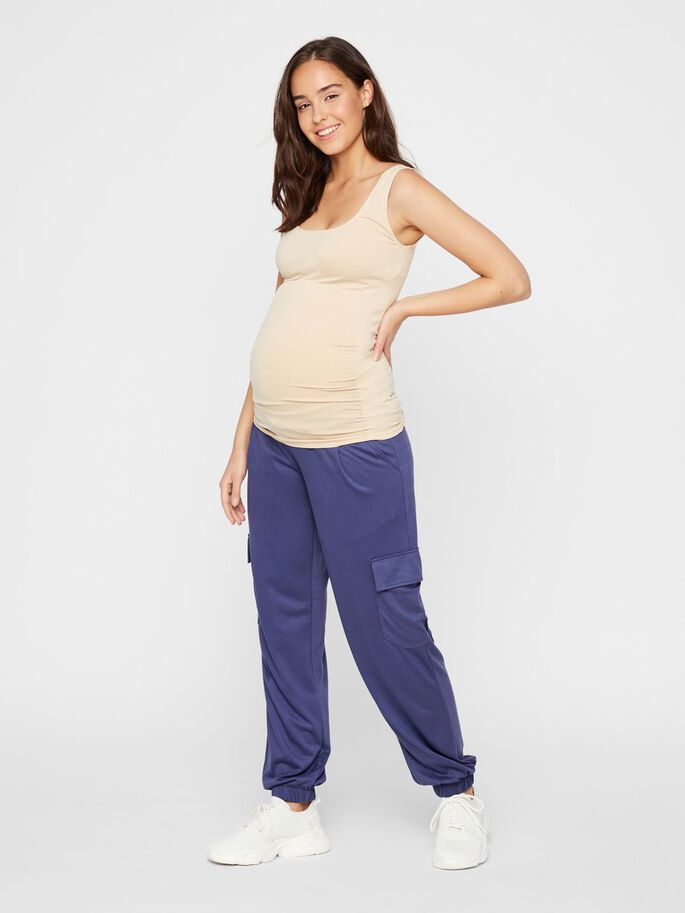 SEAMLESS LONG MATERNITY TOP, Mellow Buff, large