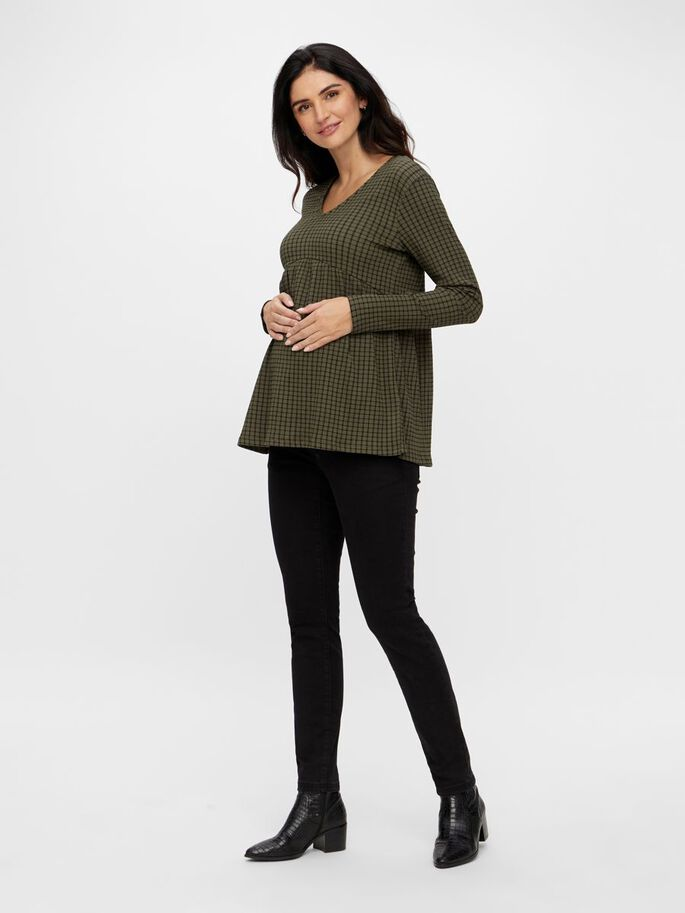 STRIPED JERSEY MATERNITY TOP, Frosty Green, large