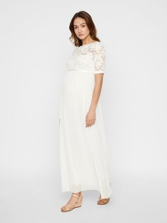 LACE SLEEVED MESH MATERNITY MAXI DRESS