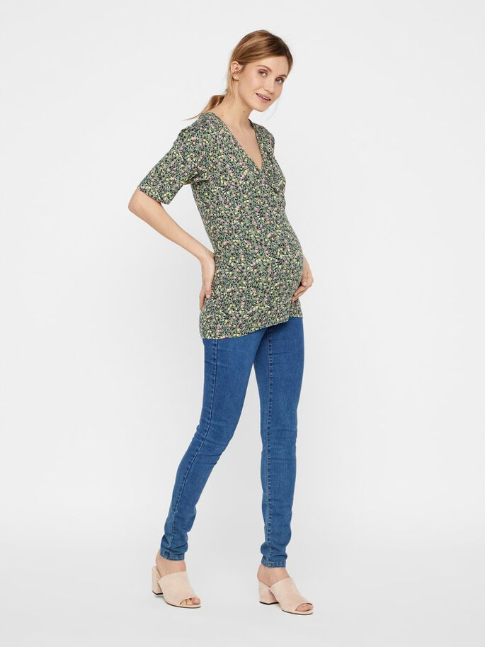 FLORAL JERSEY 2-IN-1 MATERNITY TOP, Sea Spray, large
