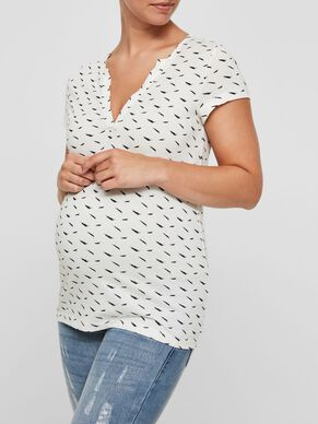 PATTERN DETAILED MATERNITY TOP, SHORT SLEEVED