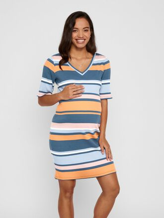STRIPED RIB MATERNITY MIDI DRESS
