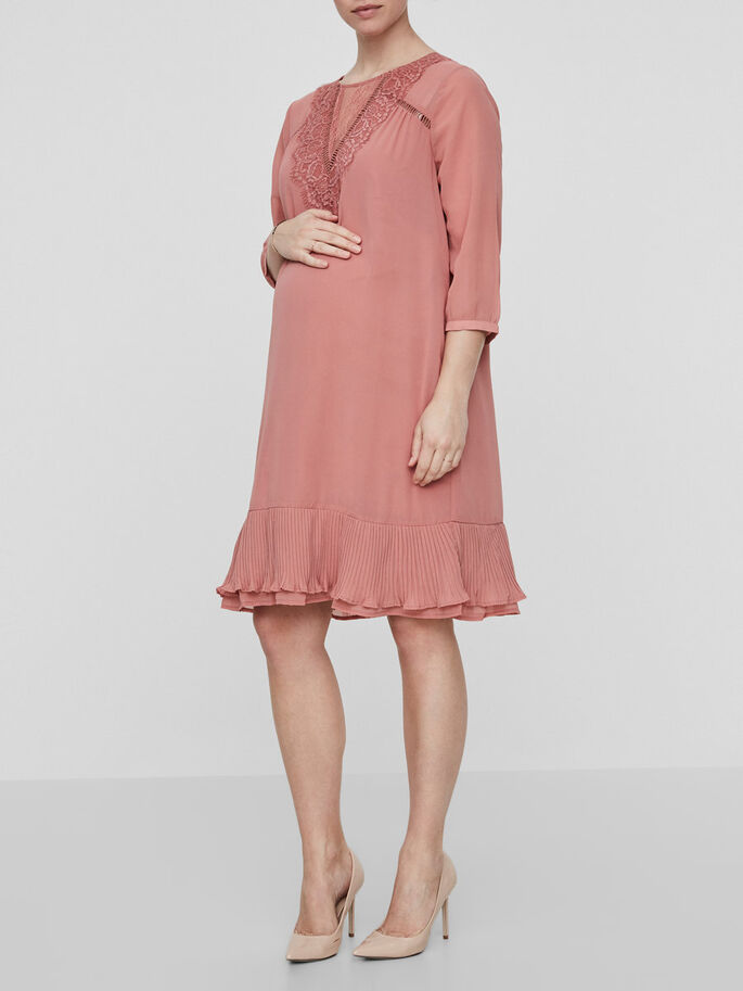WOVEN MATERNITY DRESS, Old Rose, large