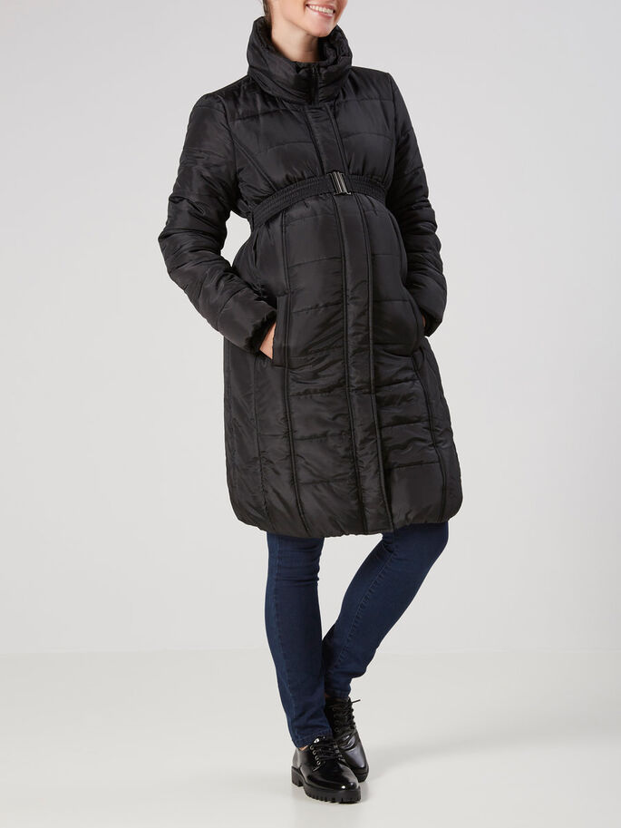 PADDED MATERNITY COAT, Black, large