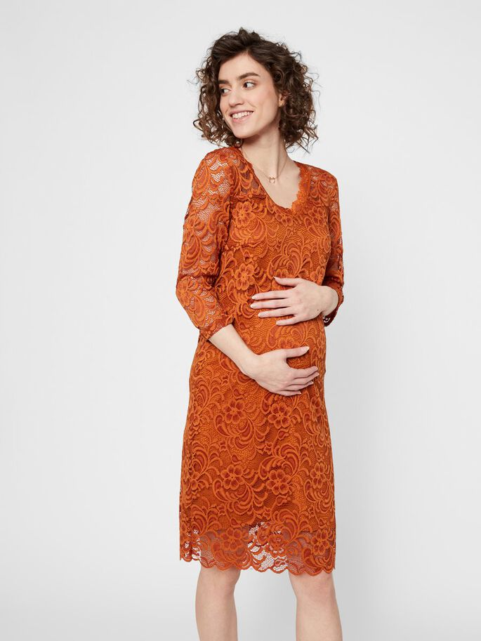 3/4 SLEEVED LACE MATERNITY DRESS, Leather Brown, large