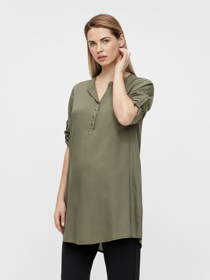 MLMERCY 3/4 SLEEVED MATERNITY TUNIC, Dusty Olive, large