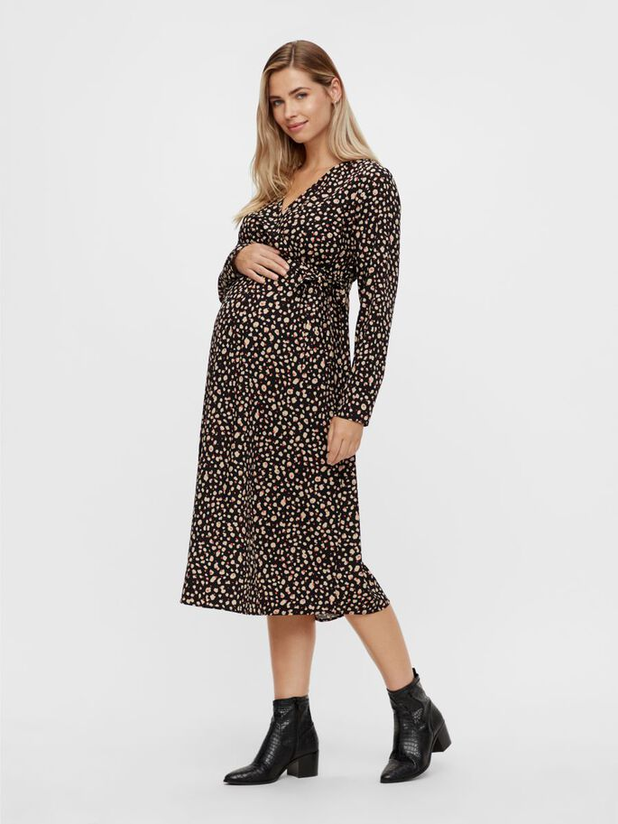 ABSTRACT PRINTED MATERNITY MIDI DRESS, Black, large