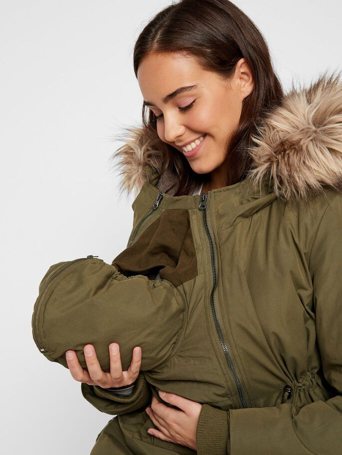 PADDED WINDPROOF 3-IN-1 MATERNITY PARKA, Olive Night, large