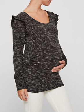 RUFFLE DETAILED MATERNITY TOP, LONG SLEEVED