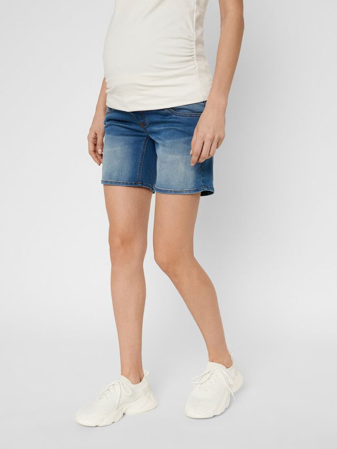 SLIM FIT DENIM MATERNITY SHORTS, Medium Blue Denim, large