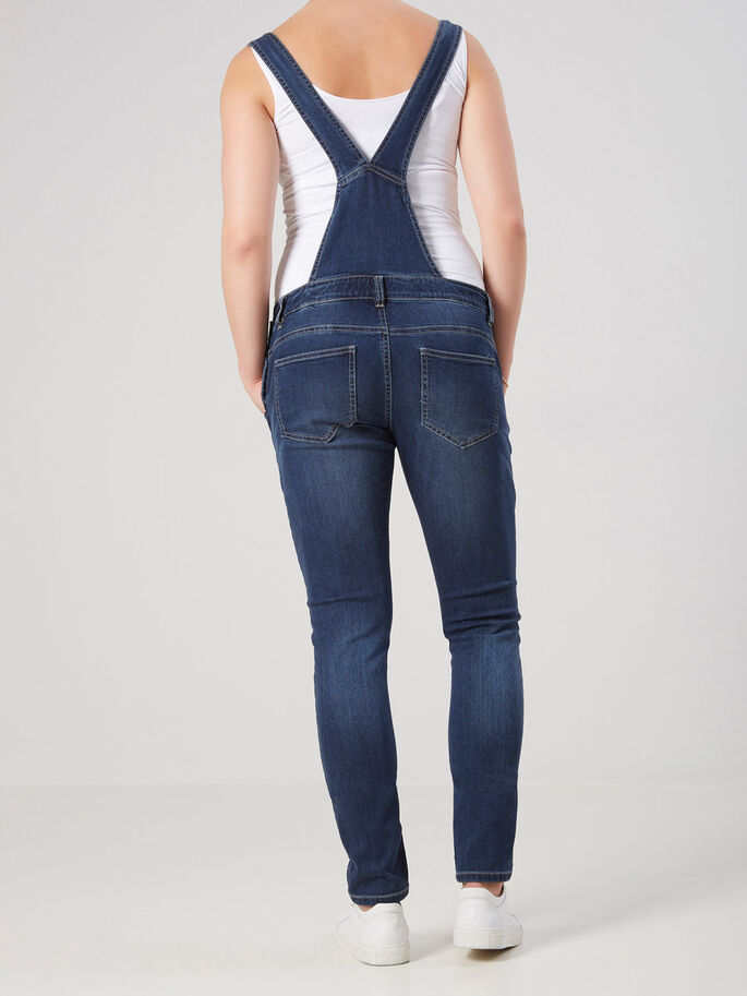OVERALL ZWANGERSCHAPSJEANS, Dark Blue Denim, large