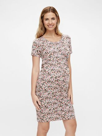 PRINTED SHORT SLEEVE MATERNITY MINI DRESS