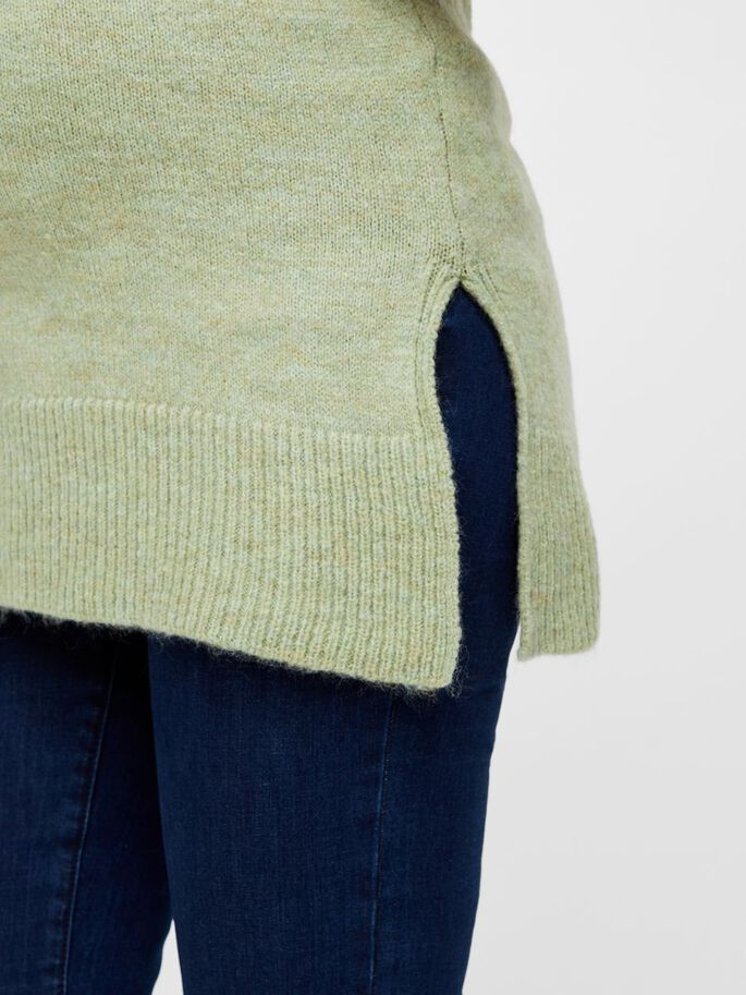 KNITTED HIGH NECK MATERNITY TOP, Frosty Green, large