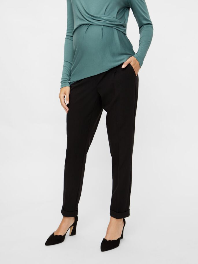 PLEATED MATERNITY TROUSERS, Black, large