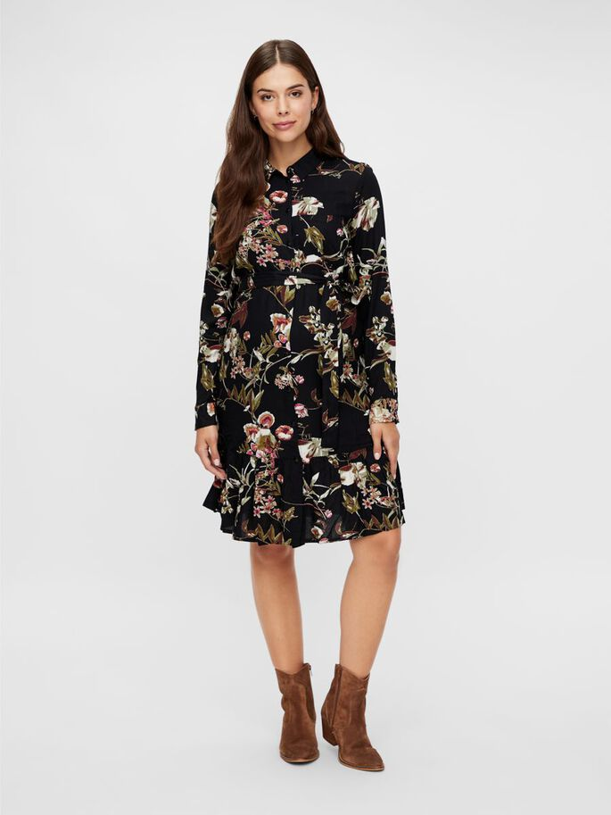 FLORAL VISCOSE MATERNITY DRESS, Black, large