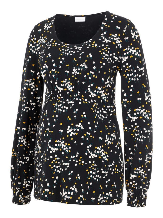 FLORAL JERSEY MATERNITY TOP, Black, large