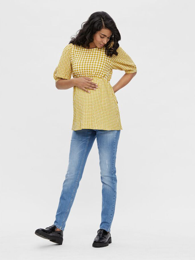 MLLUCILLA PUFF SLEEVED MATERNITY TOP, Amber Gold, large