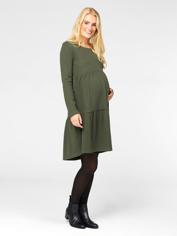 SOLID MATERNITY DRESS, Climbing Ivy, large