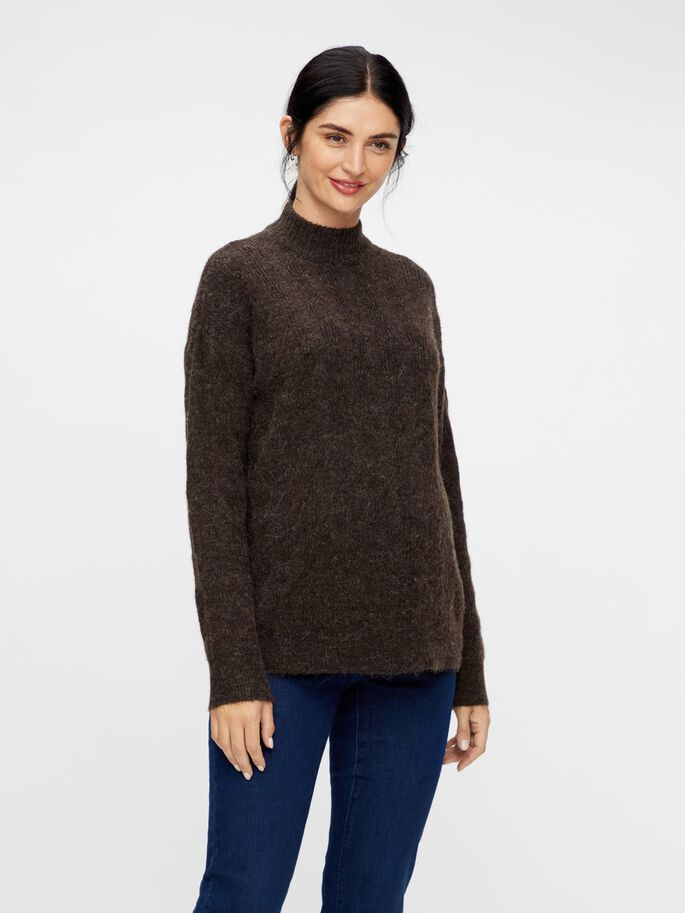 KNITTED HIGH NECK MATERNITY PULLOVER, Mole, large