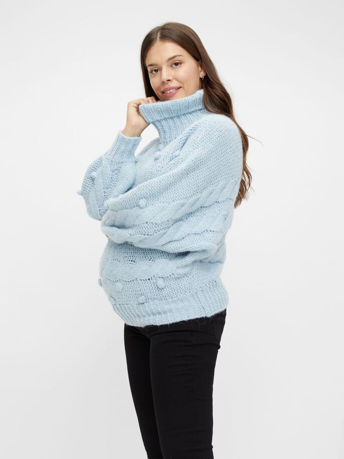 KNITTED ROLL NECK MATERNITY PULLOVER, Cashmere Blue, large