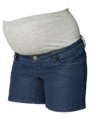 DOTTED DENIM MATERNITY SHORTS