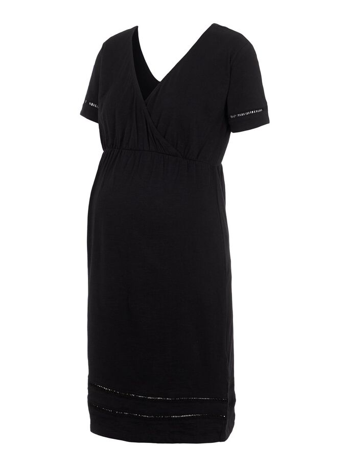 TIE-BAND 2-IN-1 MATERNITY DRESS, Black, large