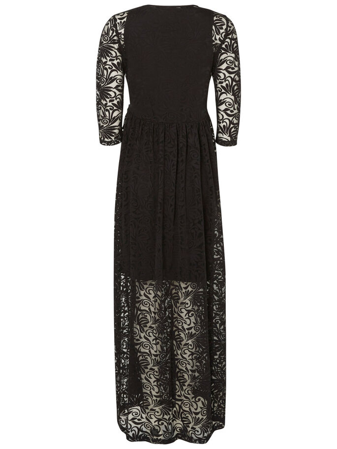 WOVEN MATERNITY DRESS, LONG, Black, large