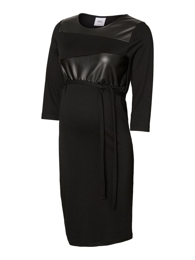 LEATHER LOOK MATERNITY DRESS, Black, large